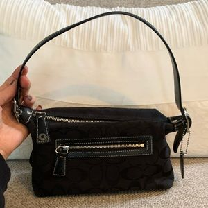 Coach Signature Black Mini Canvas Shoulder handbag